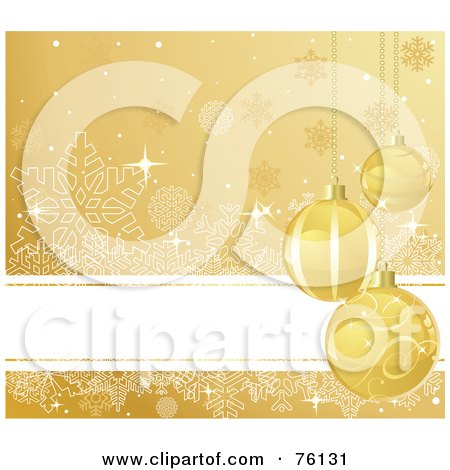 Royalty-Free (RF) Clipart Illustration of a Sparkly Gold Snowflake Background With A White Text Bar And Christmas Baubles by Pushkin