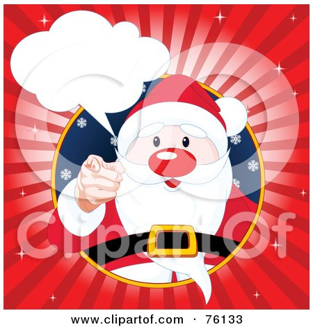 Royalty-Free (RF) Clipart Illustration of Santa In A Circle, Pointing Outwards With A Word Bubble And Red Burst by Pushkin