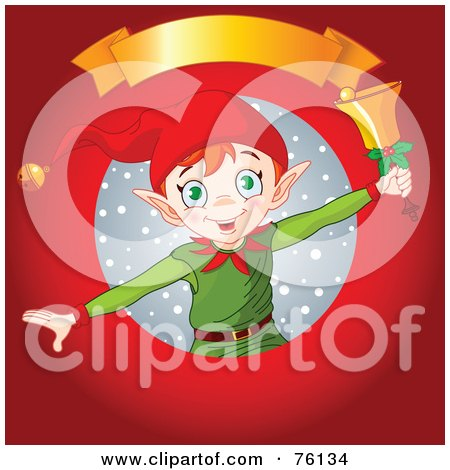 Royalty-Free (RF) Clipart Illustration of a Christmas Elf Ringing A Bell In A Snow Circle On Red With A Blank Gold Banner by Pushkin