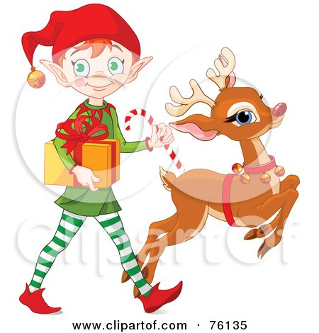 Royalty-Free (RF) Clipart Illustration of a Cute Christmas Elf And Rudolph Delivering A Present by Pushkin