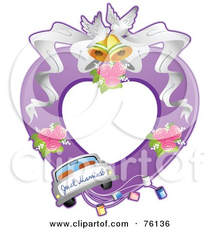 Royalty-Free (RF) Clipart Illustration of a Just Married Wedding Frame by BNP Design Studio