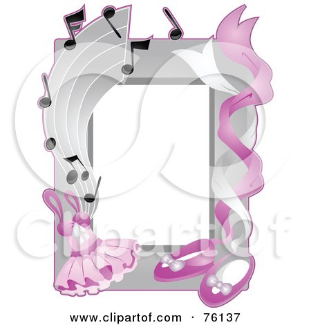 Royalty-Free (RF) Clipart Illustration of a Ballet Tuto And Shoe Frame by BNP Design Studio