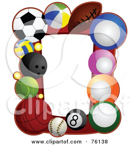 Royalty-Free (RF) Clipart Illustration of a Sports Ball Frame by BNP Design Studio