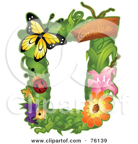 Royalty-Free (RF) Clipart Illustration of a Garden Bug Frame by BNP Design Studio