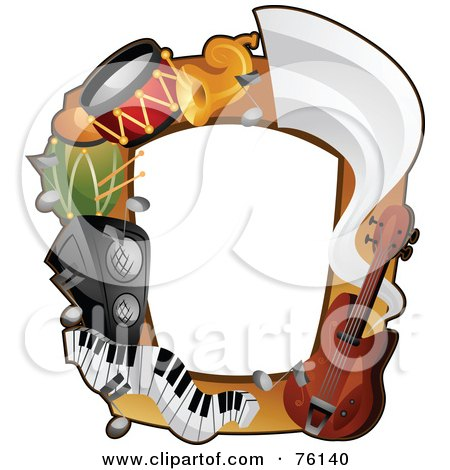 Royalty-Free (RF) Clipart Illustration of a Musical Instrument Frame by BNP Design Studio