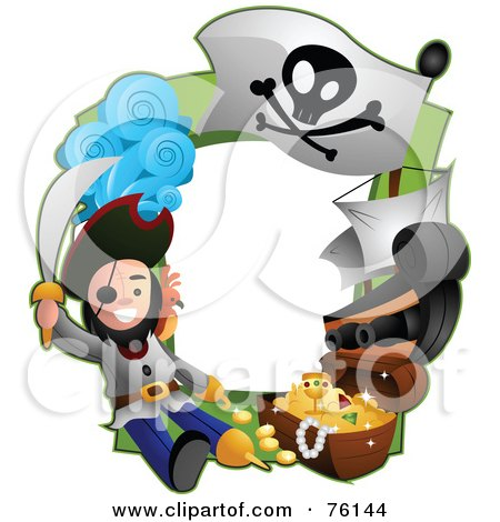 Royalty-Free (RF) Clipart Illustration of a Pirate Treasure Frame by BNP Design Studio