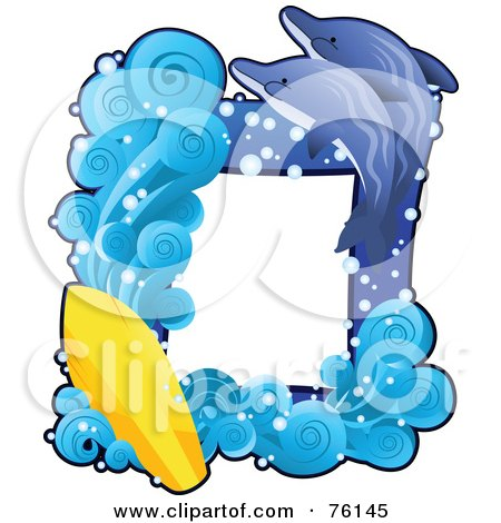Royalty-Free (RF) Clipart Illustration of a Dolphin Surfing Frame by BNP Design Studio