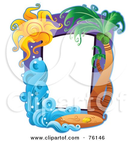 Royalty-Free (RF) Clipart Illustration of a Palm Tree Travel Frame by BNP Design Studio