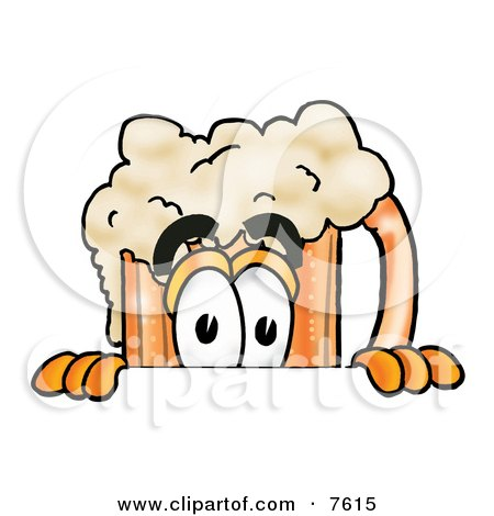 Clipart Picture of a Beer Mug Mascot Cartoon Character Peeking Over a Surface by Toons4Biz