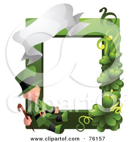 Royalty-Free (RF) Clipart Illustration of a Leprechaun St Patricks Day Frame by BNP Design Studio