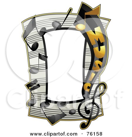 Royalty-Free (RF) Clipart Illustration of a Music Note Frame by BNP Design Studio
