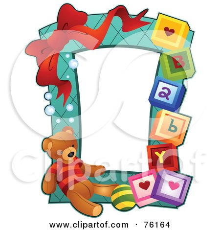 Royalty-Free (RF) Clipart Illustration of a Teddy Bear Baby Frame by BNP Design Studio