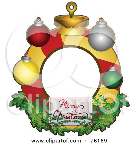 Royalty-Free (RF) Clipart Illustration of a Merry Christmas Bauble Frame by BNP Design Studio