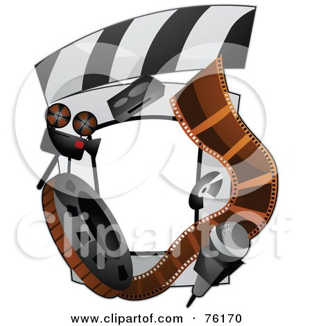 Royalty-Free (RF) Clipart Illustration of a Film Reel Frame by BNP Design Studio