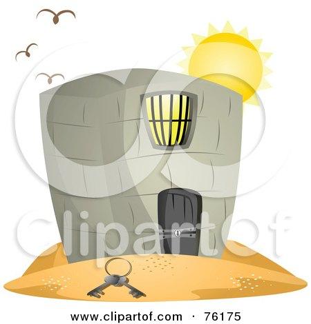 Royalty-Free (RF) Clipart Illustration of Birds Flying Over A Jail In A Desert, Keys On The Sand by BNP Design Studio
