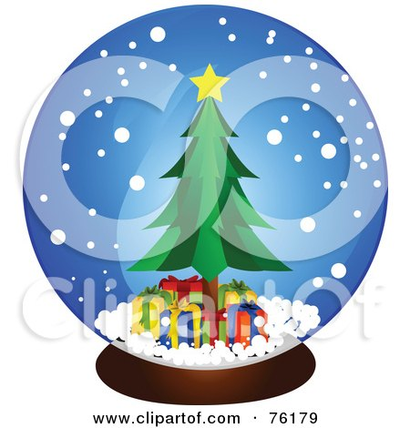 Royalty-Free (RF) Clipart Illustration of a Christmas Tree And Presents In A Snow Globe by BNP Design Studio