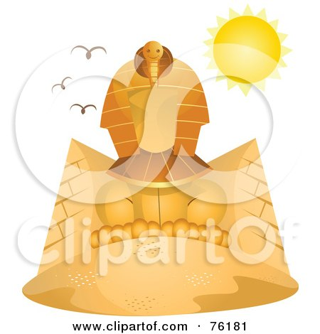Royalty-Free (RF) Clipart Illustration of The Sun Shining Over The Great Sphinx by BNP Design Studio