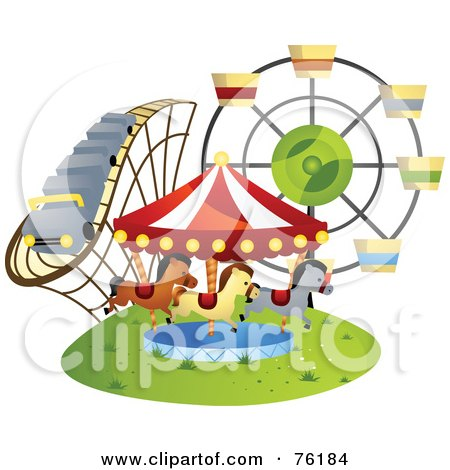 Royalty-Free (RF) Clipart Illustration of a Roller Coaster, Carousel And Ferris Wheel At A County Fair Or Amusement Park by BNP Design Studio