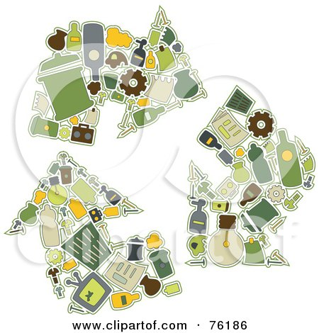Royalty-Free (RF) Clipart Illustration of a Collage Of Recycling Icons Forming Three Arrows by BNP Design Studio