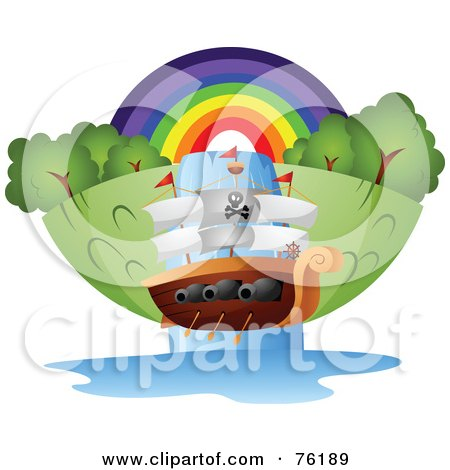 Royalty-Free (RF) Clipart Illustration of a Pirate Ship Going Down A Waterfall In Front Of A Rainbow by BNP Design Studio