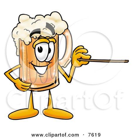 Clipart Picture of a Beer Mug Mascot Cartoon Character Holding a Pointer Stick by Toons4Biz