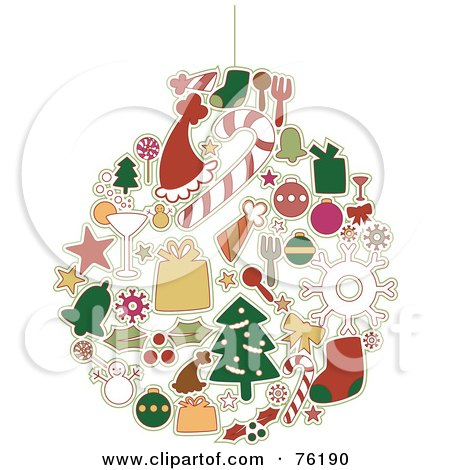 Royalty-Free (RF) Clipart Illustration of a Collage Of Christmas Icons Forming An Ornament by BNP Design Studio