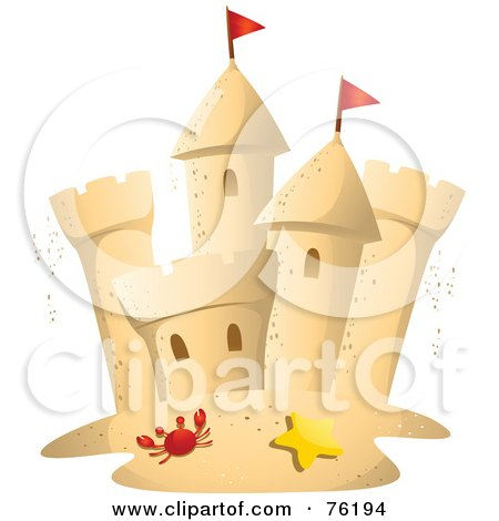 Royalty-Free (RF) Clipart Illustration of a Crab And Starfish In Front Of A Sand Castle by BNP Design Studio