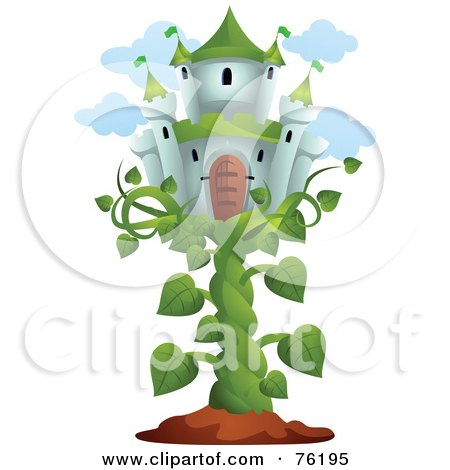 Royalty-Free (RF) Clipart Illustration of a Castle In The Sky On A Bean Stalk by BNP Design Studio