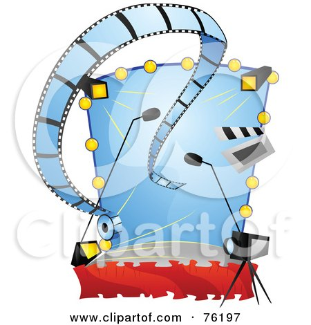 Royalty-Free (RF) Clipart Illustration of a Movie Cinema With Film, Lights And A Camera by BNP Design Studio