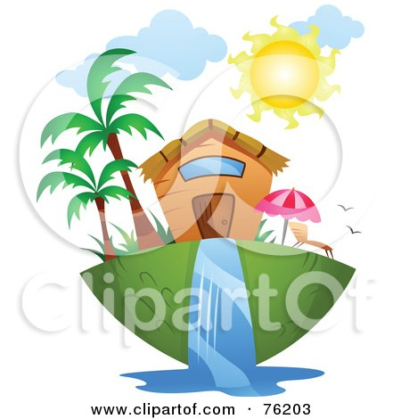 Royalty-Free (RF) Clipart Illustration of a Unique Tropical Home by BNP Design Studio