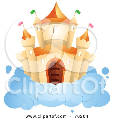 Royalty-Free (RF) Clipart Illustration of an Orange Castle On A Cloud In The Sky by BNP Design Studio
