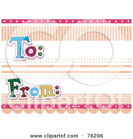 Royalty-Free (RF) Clipart Illustration of a To And From Label With Dots And Lines by BNP Design Studio