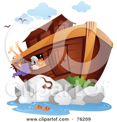 Royalty-Free (RF) Clipart Illustration of Animals On And Swimming Near Noahs Arc by BNP Design Studio