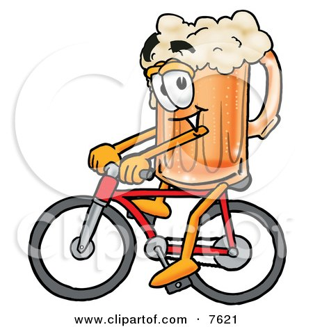 Clipart Picture of a Beer Mug Mascot Cartoon Character Riding a Bicycle by Toons4Biz