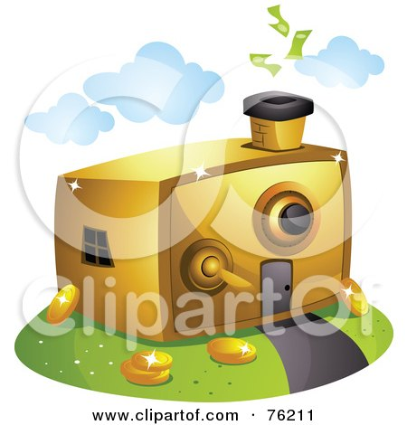 Royalty-Free (RF) Clipart Illustration of a Unique Vault Home by BNP Design Studio