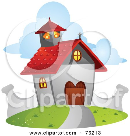 Royalty-Free (RF) Clipart Illustration of a Cute Chapel With A Red Roof by BNP Design Studio