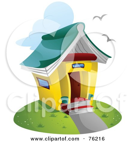 Royalty-free clipart picture of a unique library building with a book roof,
