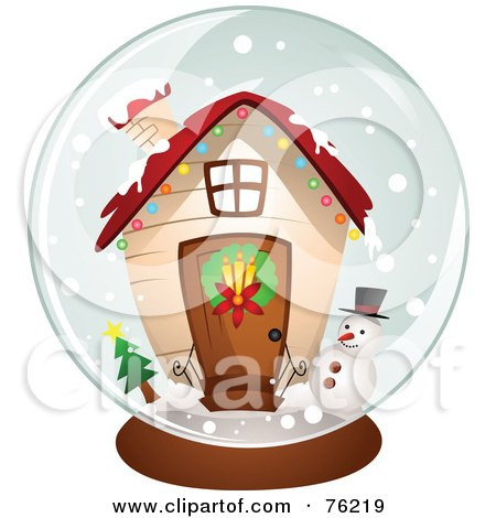 Royalty-Free (RF) Clipart Illustration of a Christmas House Snow Globe by BNP Design Studio