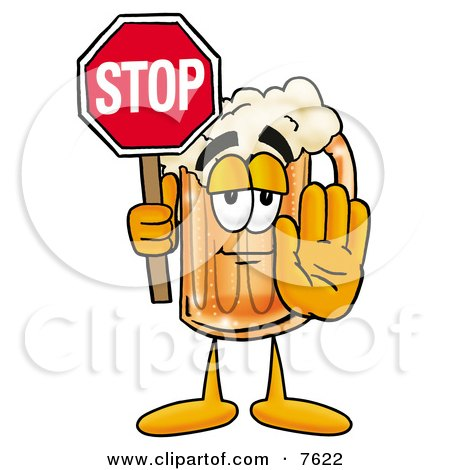 Clipart Picture of a Beer Mug Mascot Cartoon Character Holding a Stop Sign by Toons4Biz