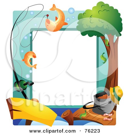 Royalty-Free (RF) Clipart Illustration of a Fishing Dock Frame by BNP Design Studio