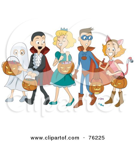 Royalty-Free (RF) Clipart Illustration of a Group Of Halloween Children Trick Or Treating As A Ghost, Vampire, Princess, Super Hero And Cat by BNP Design Studio