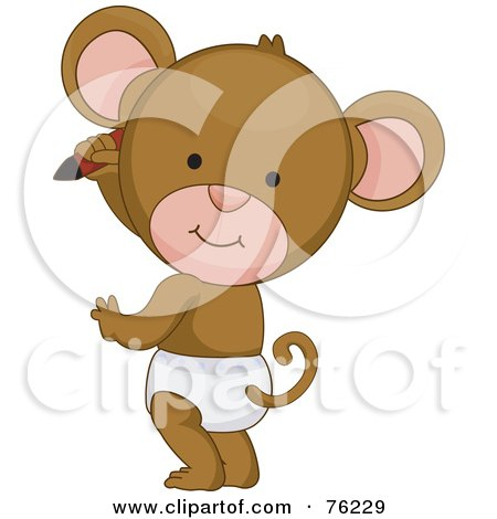Royalty-free clipart picture of a cute baby monkey in a diaper, drawing on a