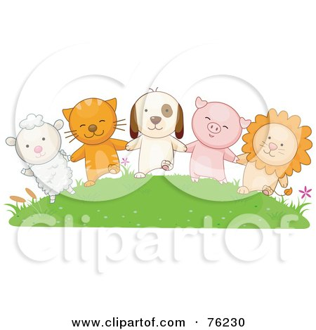 Lamb, Cat, Dog, Pig And Lion Holding Hands On A Grassy Hill Posters, Art Prints