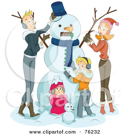 Royalty-Free (RF) Clipart Illustration of a Happy Family Making A Snowman Together by BNP Design Studio