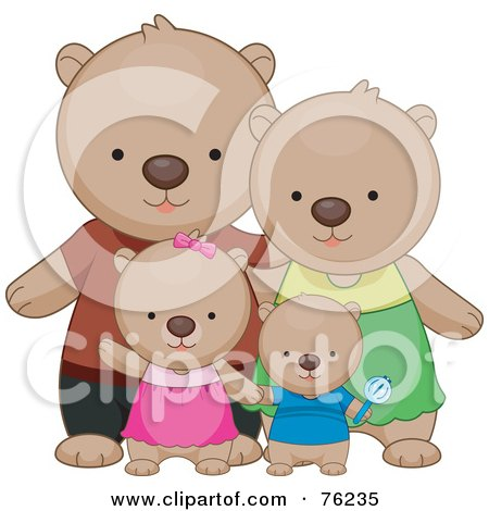 Happy Bear Family Standing Together Posters, Art Prints