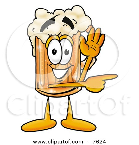 Clipart Picture of a Beer Mug Mascot Cartoon Character Waving and Pointing by Toons4Biz