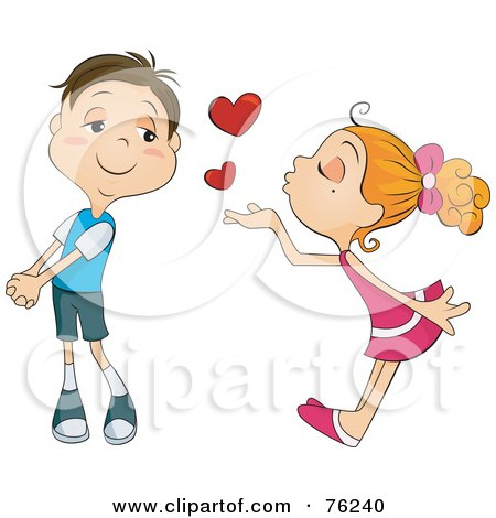 Blond Girl Blowing Heart Kisses At An Infatuated Boy Posters, Art Prints