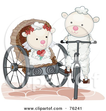 Royalty-Free (RF) Clipart Illustration of a Sheep Groom Transporting His Bride In A Carriage by BNP Design Studio