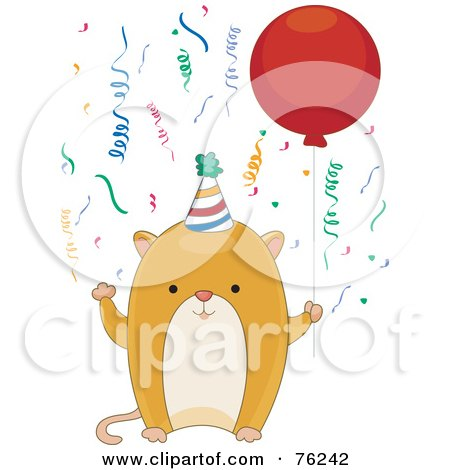 Royalty-Free (RF) Clipart Illustration of a Happy Birthday Hamster Wearing A Party Hat And Holding A Balloon by BNP Design Studio