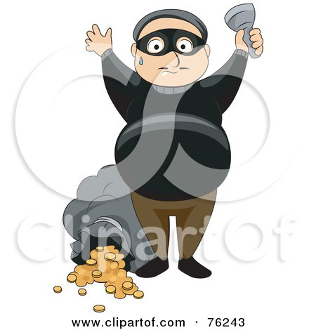 Royalty-Free (RF) Clipart Illustration of a Sweaty Thief Holding His Hands Up After Robbing A Bank by BNP Design Studio